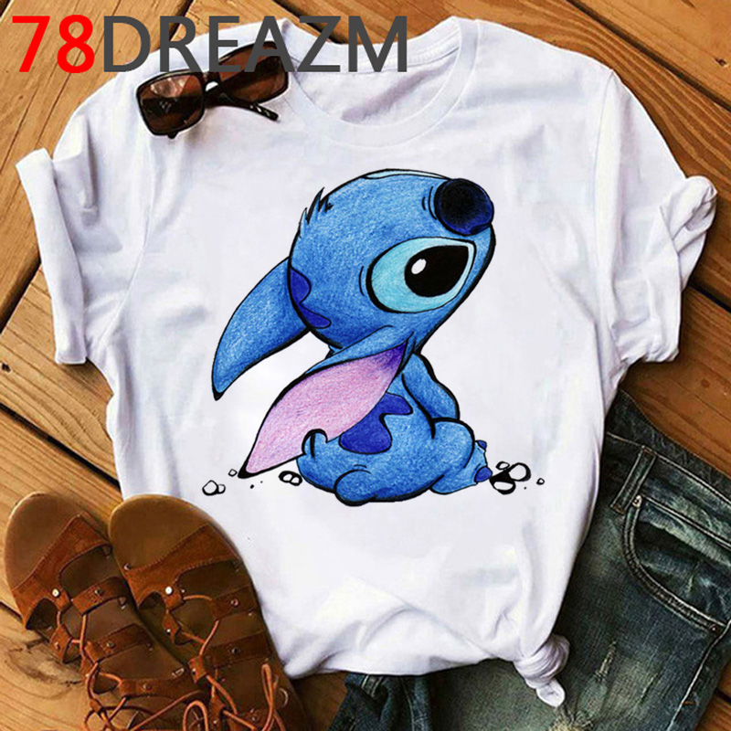 Kawaii Anime Lilo Stitch T Shirt Women Lovely Cartoon Stitch Ohana Graphic Tees Plus Size Unisex Cute Summer Top Tees Female