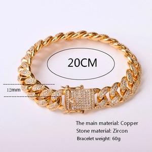 "Image 2 - 12MM Men Zircon Curb Cuban Link Bracelet Hip hop Jewelry Gold Color Thick Heavy Copper Material Iced CZ Chain Bracelet 8"""