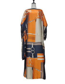 Abaya Muslim Traditional Comfortable Hijab Saudi Arabi Women Silk Maxi Dress Free Size African Lady Printed Kaftan Dresses