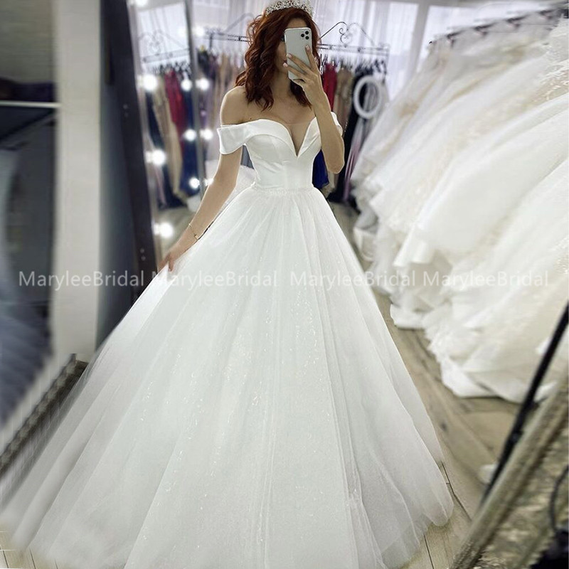 Princess Ball Gown Off Shoulder Wedding Dress White Ivory Sparkle Tulle Bridal Dress Russia Bride Wedding Gown Vestido De Novia
