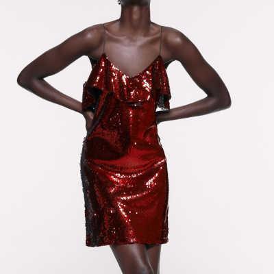 Sprankelende Hoge Taille Glitter Pailletten Pittige Mini Cami Jurk Private Party Club Disco Vrouwen Sexy Stage Dress GF gift