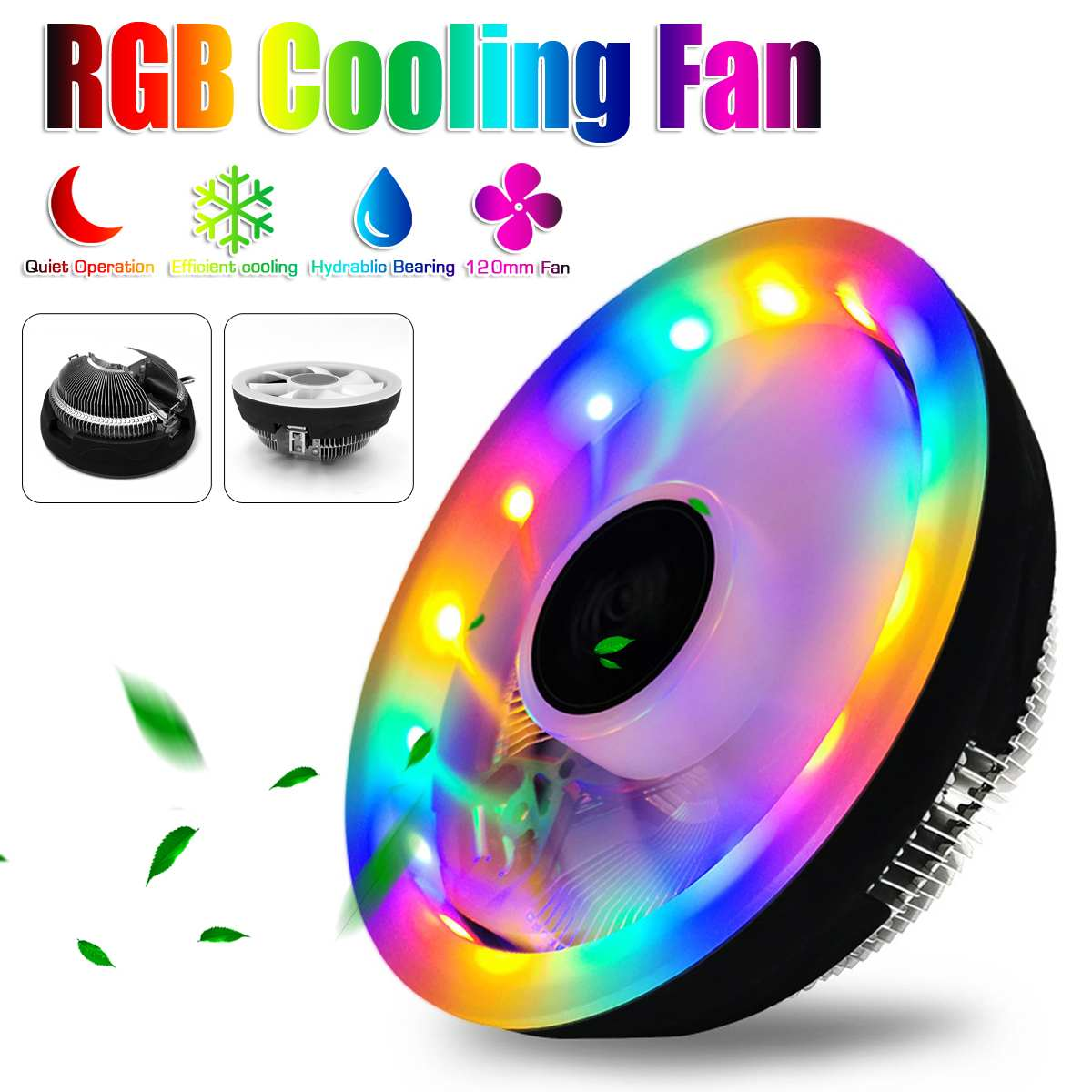 LEORY Durable Heatsink CPU Cooler Cooling Radiator Fan 3 Pin RGB CPU Cooler for CPUs with Power Less than 80W image