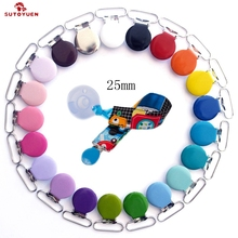 Sutoyuen 210pcs 1'' 25mm  Assorted Enamel Round Shape Suspender Clips / Baby Pacifier Clips for Dummy Soother Pacifier Chain