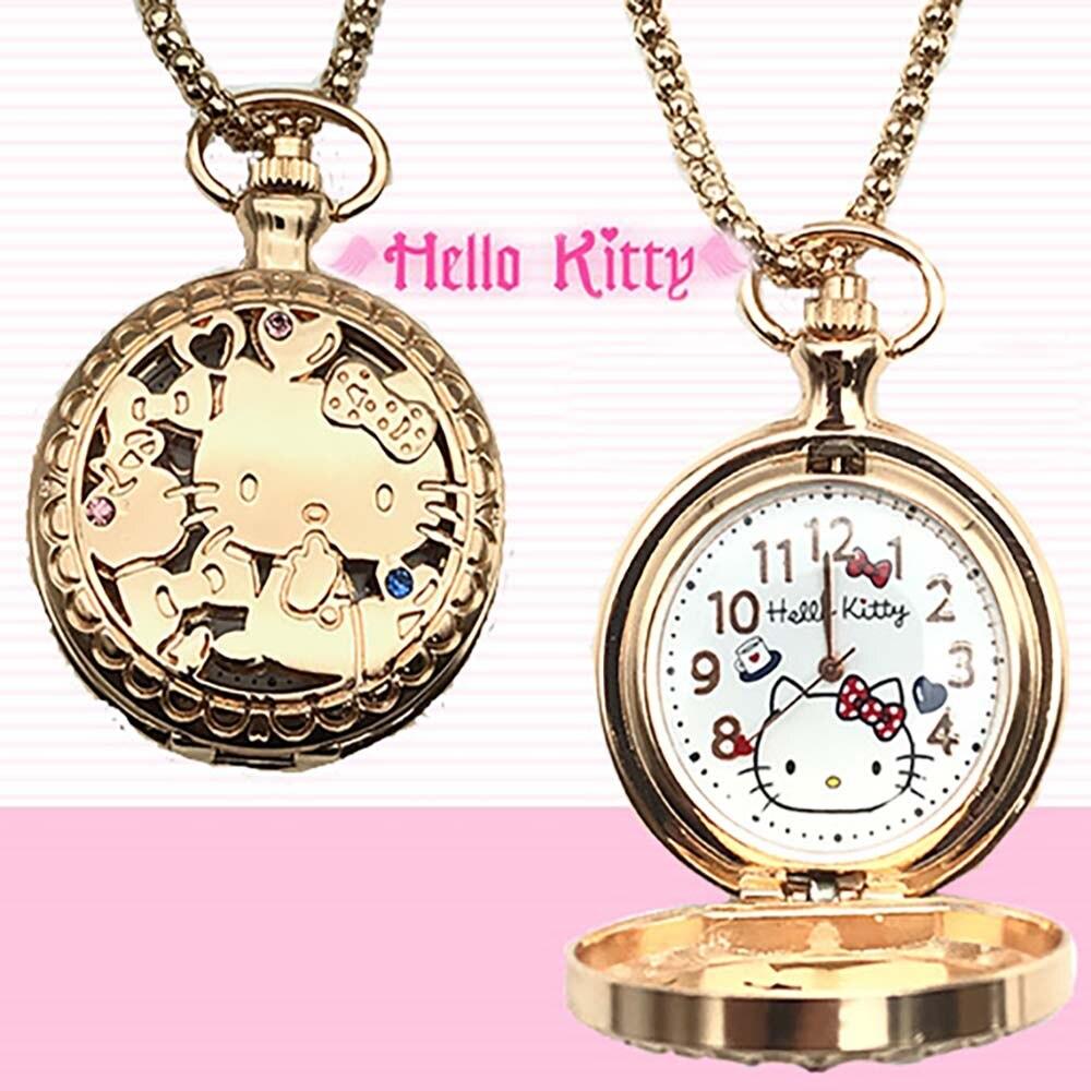 Kt Cat Cartoon Girl Hollow Rose Gold Flip-cut Diamond Pocket Watch Necklace Watch Children Watch