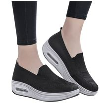 Sapata de balanço de fundo grosso das mulheres sagace deslizamento na sapatilha sapatos vulcanizados senhoras moda casual sólido esporte sapatos