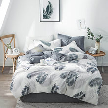Yimeis Bed Linen Cotton 4pcs Duvet Cover 220x240 Printing Twin Size Bedding BE45100(China)