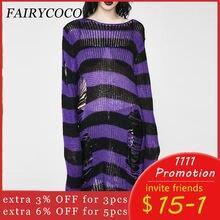 Женский трикотажный свитер в полоску свободный прозрачный длинный
