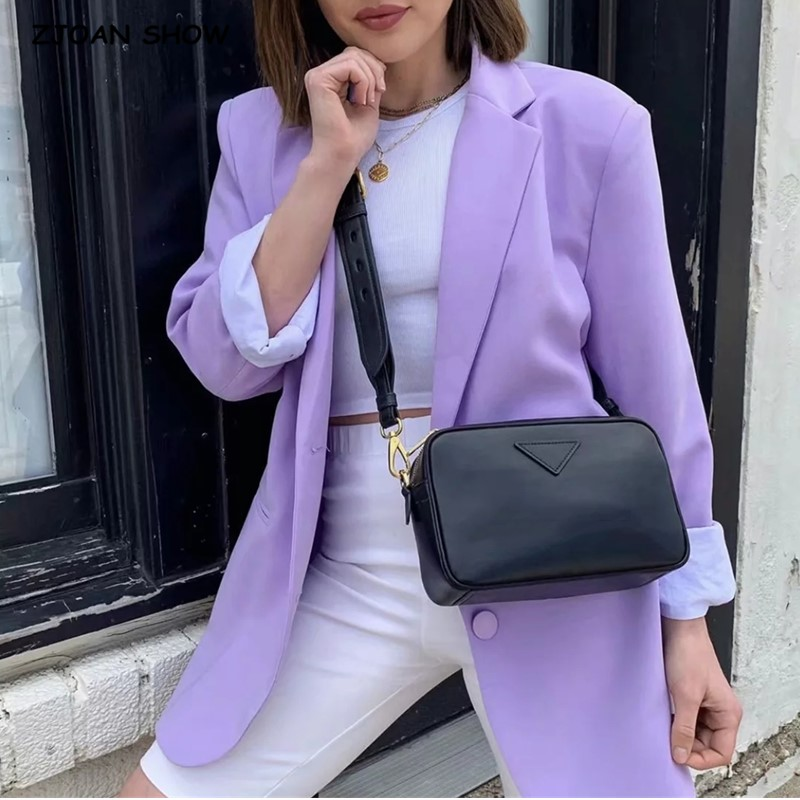 2020 New Boyfriend Lavender Blazer Vintage Women Long Sleeve Loose Suit Casual Coat Notched Collar Back Slit Outwear Taro Purple