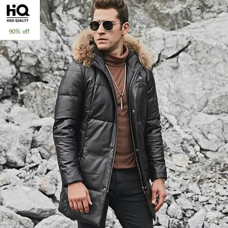 Мужские пуховики из натуральной кожи с воротником из меха енота, осенне зимние новые брендовые теплые куртки средней длины на молнии с капю...