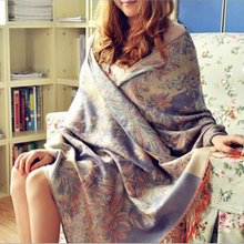 2020 Freeshipping fashion brand bohemian floral embrodiery Jacquard scarf long wide women scarves fringed scarf 65*190cm