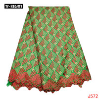YF HZGJMY African Swiss Voile Lace Fabric High Quality Light Green Nigeria Cotton Lace With Rhinstones Garment fabric HA572