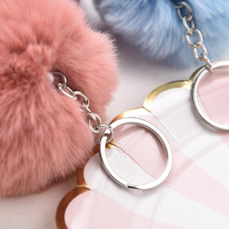 New Rabbit Fur Ball Fluffy Car Keychain Pendant Handbag Charm Keyring 8cm Hot