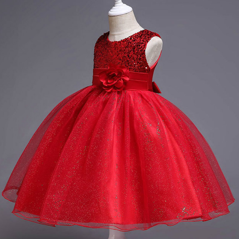 Baby Girls Sequins Flower Party Tutu Dress Clothes Children Girls Wedding Birthday Dress Clothing Infant Kids Christmas Costume 2
