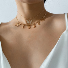Summer Butterfly Letter Multi Layer Choker Necklace for Women Animal Butterfly Pendent Necklace Golden Clavicle Jewelry zoshi bohemian multi layer long necklace for women imitation pearl choker necklace collars statement necklace summer jewelry