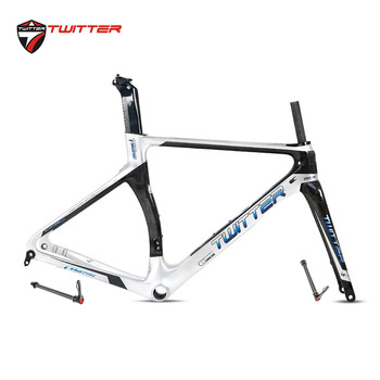 Twitter 2020 T10pro Disc Cutting 700C Road Bike Carbon Frame 18K Disc Brake Thru Axle F12*100mm R12*142mm Come With Carbon Fork цена 2017