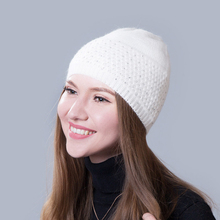 Beanie Women Winter Hat Knit Wool Rhinestone Autumn Warm Cap Skiing Outdoor Accessory For Girl Teenagers