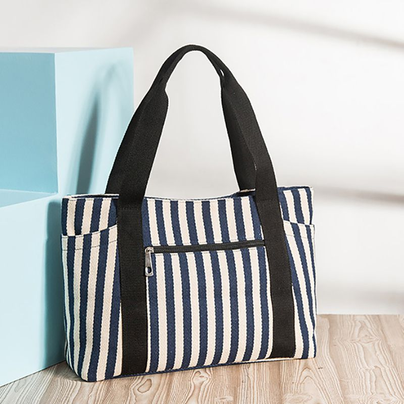 Women's Summer Beach Bag Canvas Tote Navy Stripe Shoulder Shopping Handbag Canvas Bags Two Striped Hobo