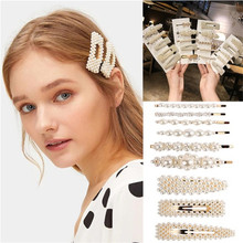 Korean Style Womens Pearl Hairpin Simple Elegant Cute Charm Metal White Headdress Handmade For Girls Gifts 2019 New