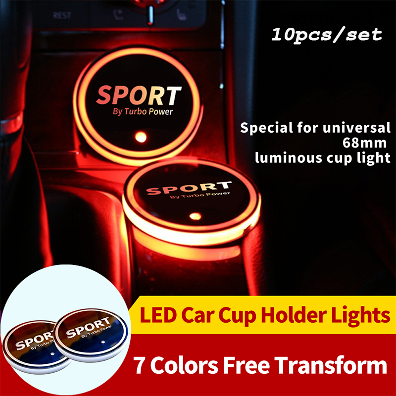 10X <font><b>LED</b></font> <font><b>Car</b></font> <font><b>Logo</b></font> Cup Light <font><b>LED</b></font> Colorful Water Cup Mat Lights Seat Trim Accessories <font><b>USB</b></font> Colorful Light <font><b>Car</b></font> <font><b>LED</b></font> Hight Cup Holder image