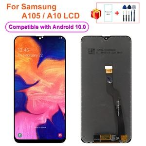 Image 1 - Дигитайзер сенсорного экрана в сборе с рамкой для Samsung Galaxy A10 A105 LCD A105F, запасные части для ремонта A10 LCD