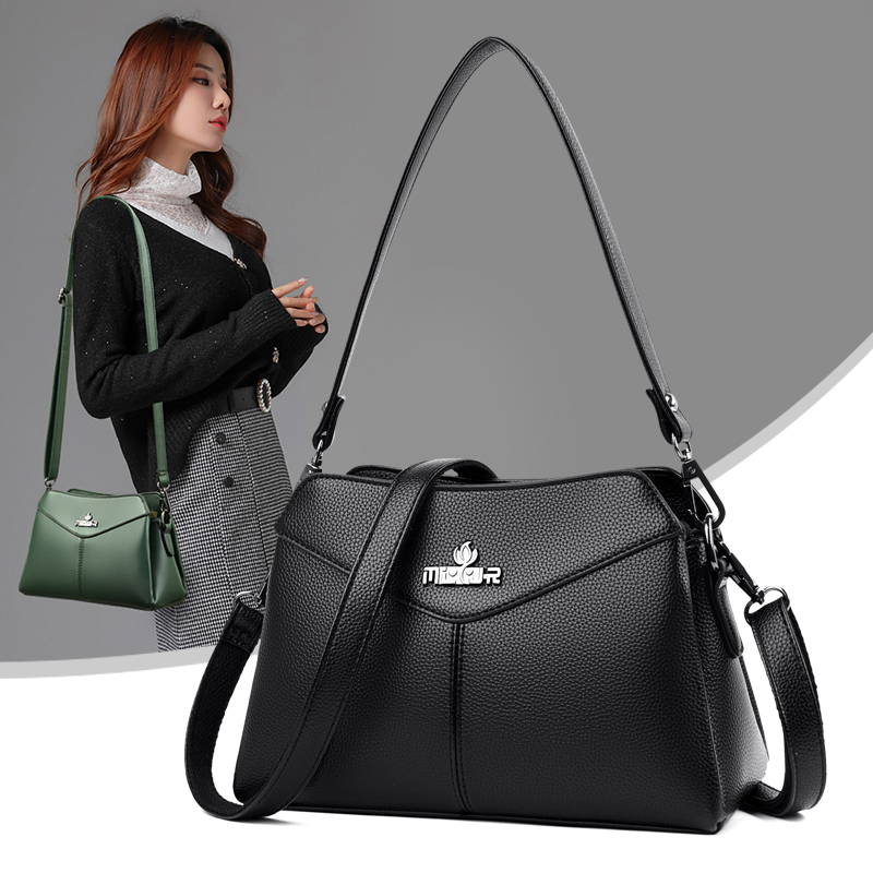 Girls Black PU Leather Shoulder Bag Commuter Type Work Square Crossbody Bags for Women Quality Wild Style Underarm Handbags Sac