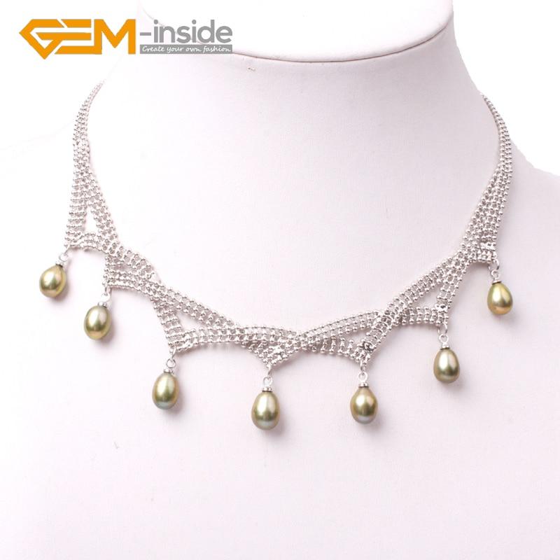 Ожерелье из пресноводного жемчуга, белая нержавеющая сталь, 7 8 мм x 9 10 мм, жемчуг для ювелирных изделий, 18 дюймов, сделай сам, женский подарок на день рождения, горячая новинка, модное|Цепочки|   | АлиЭкспресс