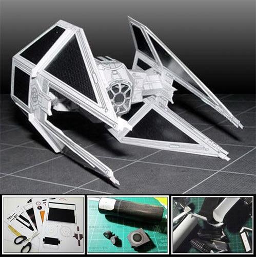 3D Paper Model Star Wars Fighting TIE-Interceptor Airplane DIY Handmade Toy