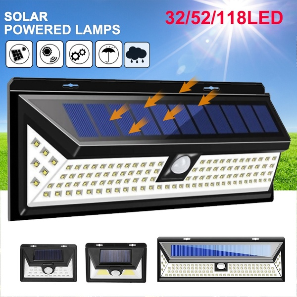 Solar Lights 6/32/52/118LED Wall Solar Light Outdoor Security Lighting Nightlight Waterproof IP65 Motion Sensor Detector 1/2PCS