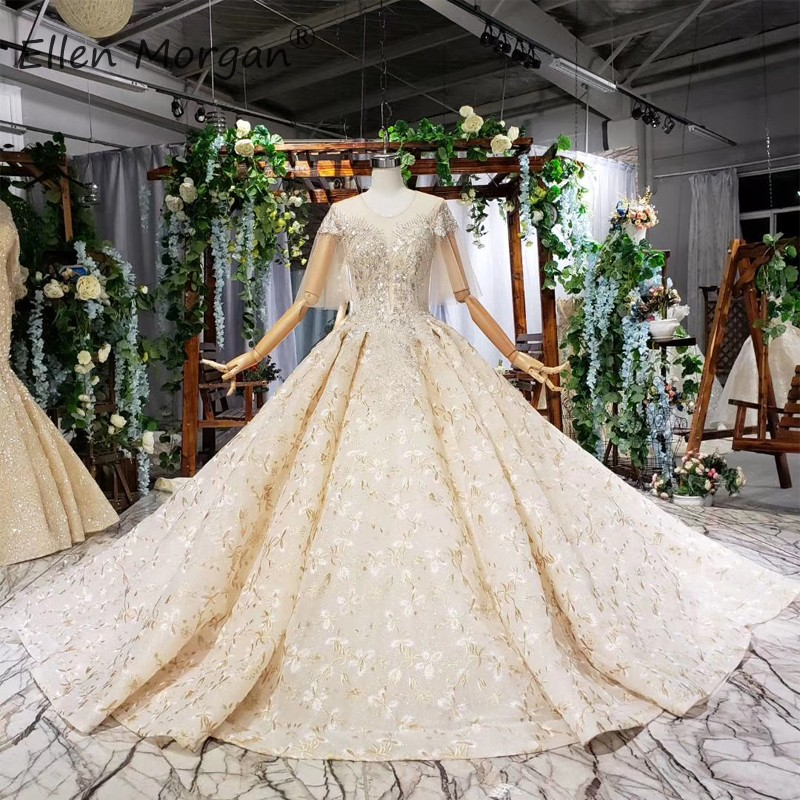Glitter Luxury Lace Wedding Dresses Backless Ball Gowns For Women O Neck Beads Short Sleeve Chaple Train Vestidos De Novia 2019