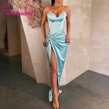 Женское вечернее платье русалка длинное с разрезом по бокам