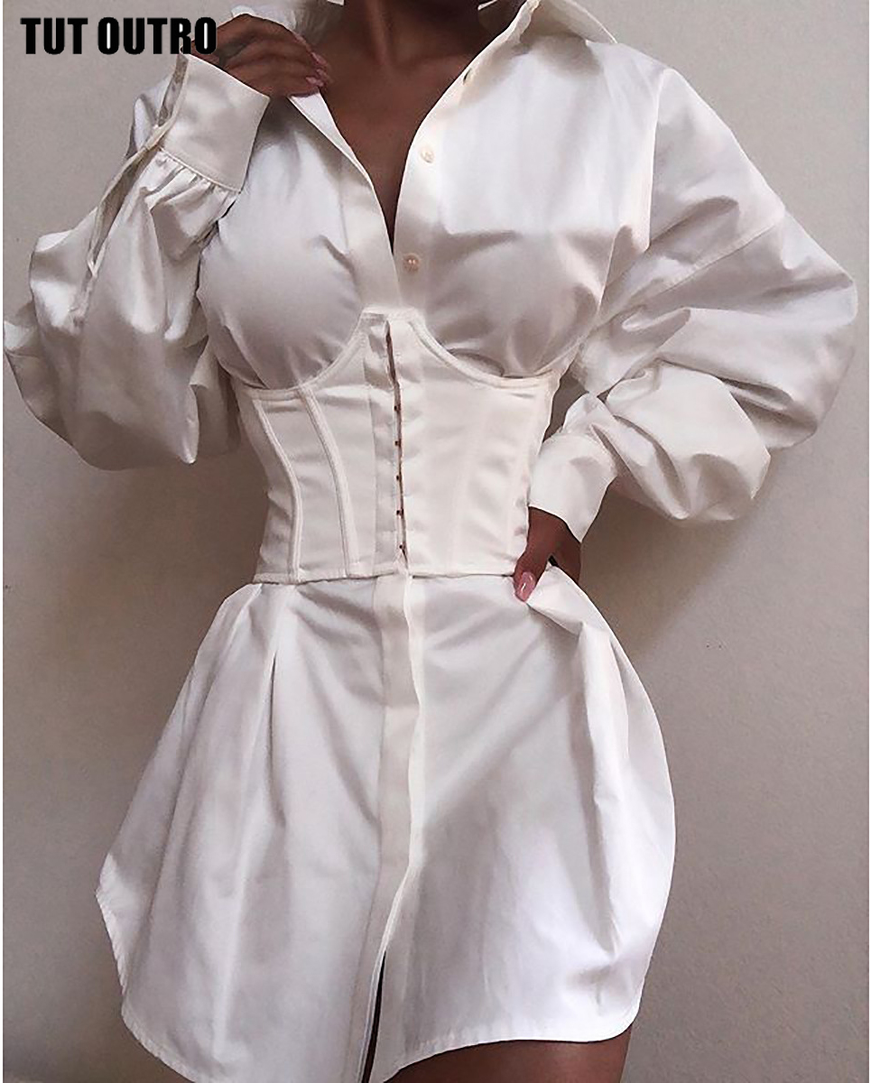 Elegant White Shirt Dress Women Lace Up TShirt Dress Mini Short Autumn Dresses Streetwear Winter Clothing Women(China)