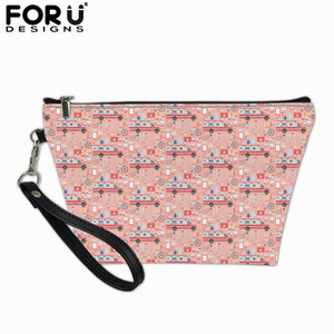 FORUDESIGNS Cartoon Car Prints Tote Organizer Cosmetic Bag for Ladies Zipper Make up Pouch Women Casual Toiletry Bags Wholesale