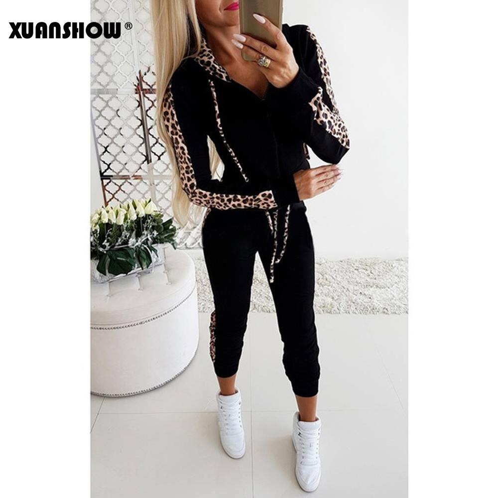 XUANSHOW Autumn Winter Hot Selling Women Casual Sportswear Hoodies Long-sleeved Suit Sexy Leopard Patchwork Ladies Tracksuits