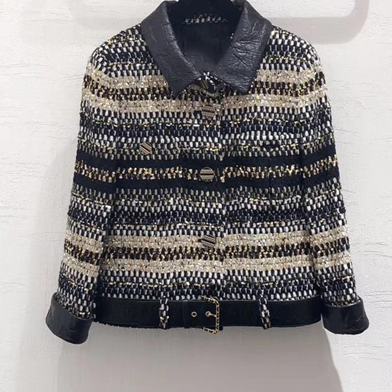2019 otoño chaqueta abrigo mujer pequeña fragancia estilo Tweed doble Breasted manga larga corto Casual sobretodo-in chaquetas básicas from Ropa de mujer    1
