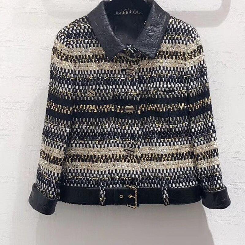 2019 가을 재킷 코트 여성 작은 향기 스타일 트위드 더블 브레스트 긴 소매 짧은 캐주얼 오버 코트-에서베이식 쟈켓부터 여성 의류 의  그룹 1
