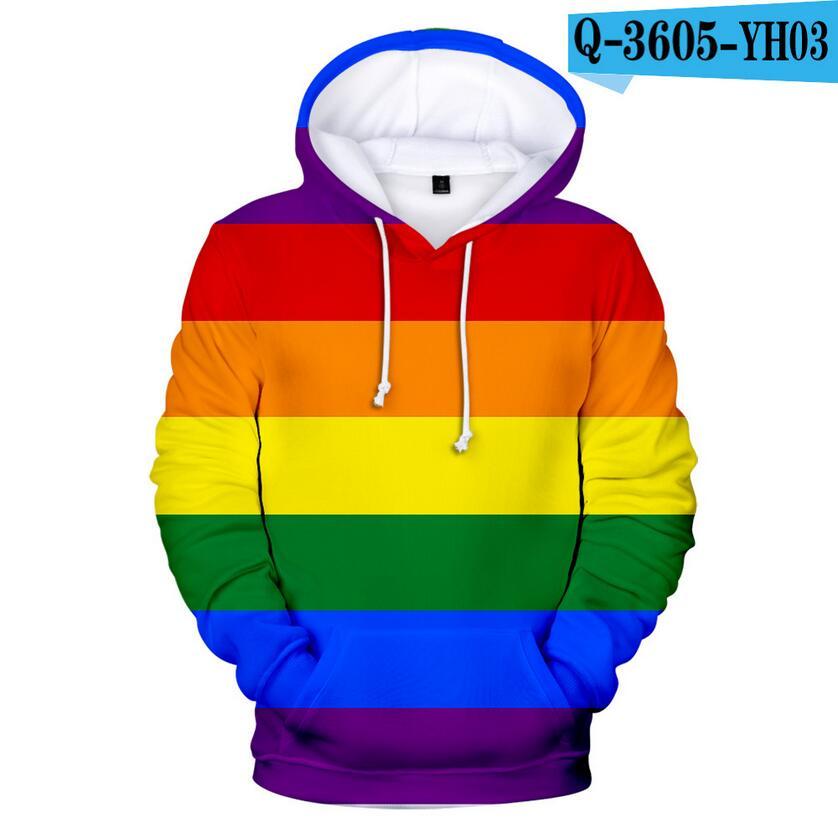 Colorful Rainbow LGBT Hoodies Sweatshirt Men Women For Lesbian Gay Pride LGBT Hoodie Fashion Casual Pullover Hooded Sweatshirts 12