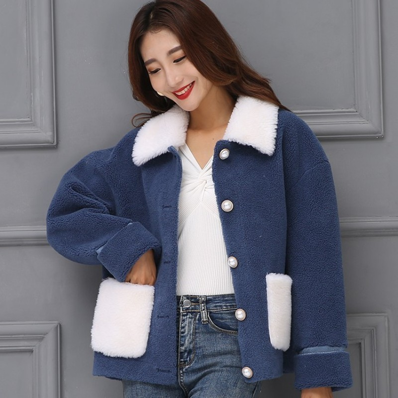 New Fashion Women Wool Real Sheep Fur Jacket Warm Genuine Shearling Coat Pearls Single Breasted Warm Outwear Coats Colors Jacket