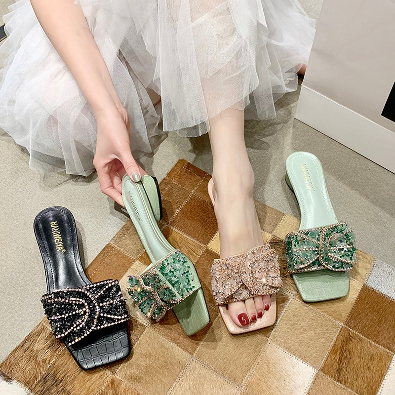 Fashion Sequined High Heel Slippers Women Shoes Summer Shiny Rhinestone Design Square Toe Med Heel Sandals Women Slippers 2020