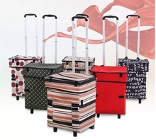 Folding hand cart woman portable bags cart shopping bags trailer trolley bag light household artifact shopping cart with wheel cheap Canvas CN(Origin) 3 2 kg 54 cm Carry-Ons 20 cm Spinner 32 cm Luggage Unisex