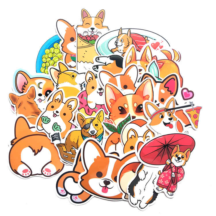50pcs Corgis Stickers Decorative Dog Adhesive Luggage DIY Diary Album Label Gift