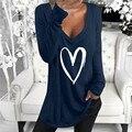 Женские Весенние футболки с длинным рукавом, повседневные топы с 3D принтом сердца, Женская свободная футболка большого размера 2XL с V-образн...