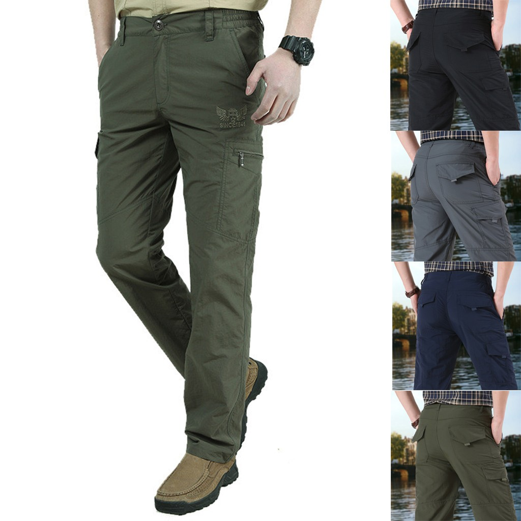 Outdoor Quick Dry Splash-proof Tactical Loose Straight Pants Men Breathable Thickened Warm Windproof Stretch Trousers Sport Pant