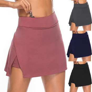 Spring Fake Two Piece Skirts Women Shorts Casual Sports Beach Mid Waist Solid Fashion Short Skirt