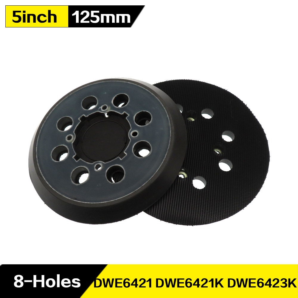 5 Inch 125mm 8-Hole Backup Sanding Pad Hook And Loop Assemblies For Dewalt Type 1, 5