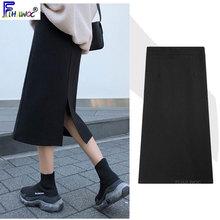 Velvet Skirt Korea-Style Spring Split Black Design Winter High-Waist Women 1208