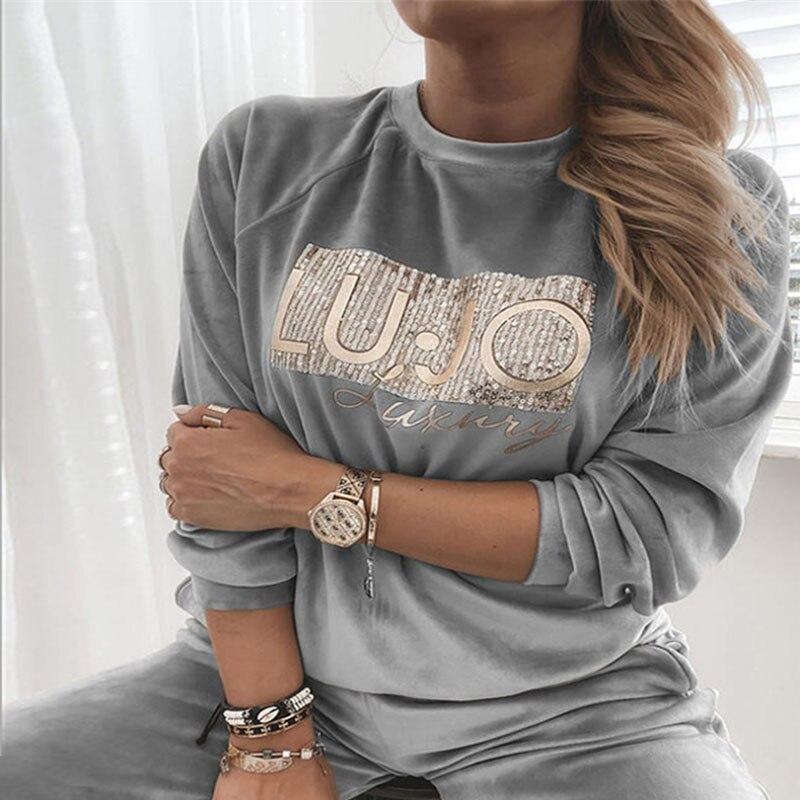 Blusa informal de terciopelo con lentejuelas para otoño, elegante camisa de manga larga con letras, color liso, cómoda y cálida, talla 3XL