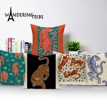 Cute Tiger Cushion Case Autumn Jungle Home Decor Pillows Cases Animal Sofa Bed Cushions Cover Linen  Pillow Covers Kissenbezug