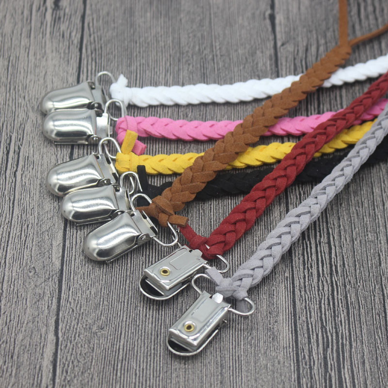 Delicacy Handmade Weave Leather Nipple Clip Baby Pacifier Clips Chain Infant Nipple Anti-lost Chain  Baby Chew Toy Clip  Gifts