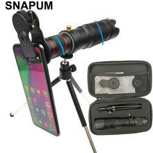Snapum telefone móvel hd 4 k 36x telescópio câmera zoom óptico celular lente telefoto para iphone samsung oppo vivo xiaomi