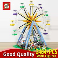 2464PCS Ferris Wheel model set building blocks compatible with legoinglys Creator 15012 construction toy kit led 10247 bricks